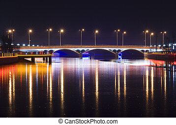 ponte, notte, luce neon