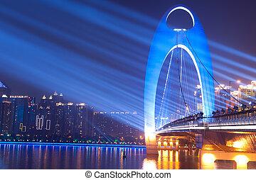 ponte, notte, macchia, scena, luce