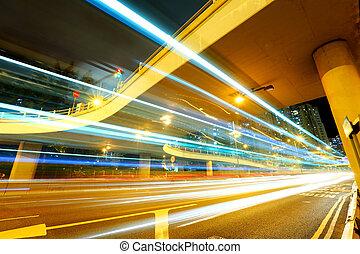 ponte, notte, traffico, sotto
