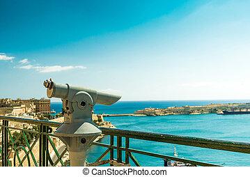 ponte osservazione, con, vista panoramica, di, valletta