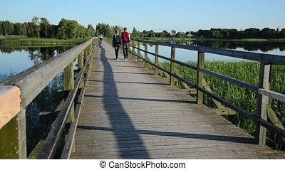 ponte, par, lago, passeio