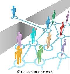 ponte, para, juntar, diverso, rede, fusão, sociedade