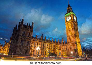 ponte, parlamento,  Ben, anoitecer, casa,  westminster, grande