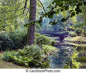 ponte, parque, japoneses