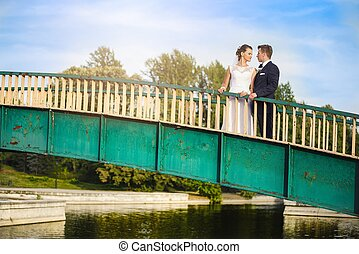 ponte, parque, newlyweds, feliz