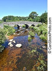 ponte, pedra, antiga, aplaudidor, dartmoor, england.