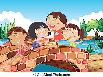 ponte, piccole ragazze, gioco