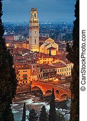 Ponte Pietra and Verona Cathedral (Duomo di Verona, Cattedrale di Santa Maria Matricolare) at night
