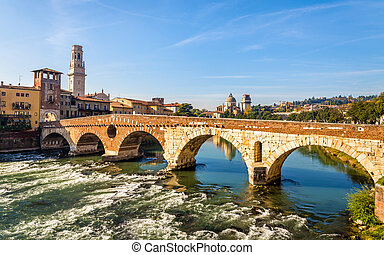 ponte pietra, (stone, bridge), en, verona, -, italia