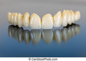 ponte, porcellana, -, dentale, denti