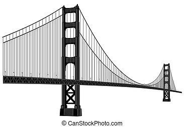 ponte, portão, dourado
