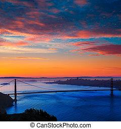 ponte porta dorato, san francisco, alba, california