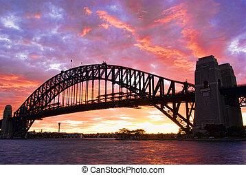 ponte porto sydney, em, anoitecer