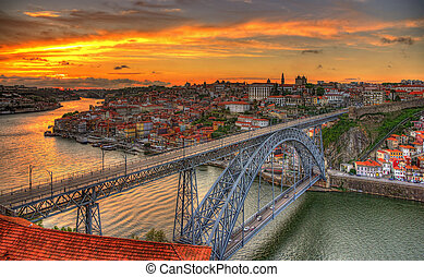 ponte, portogallo, dom, -, porto, luis