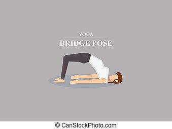 ponte, posa yoga, asana, illustrazione, vettore