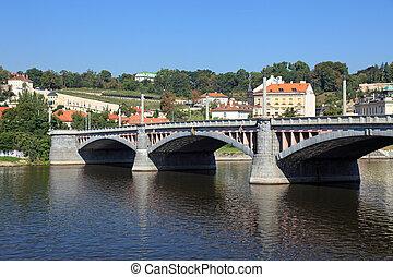 ponte, Praga, antigas,  central, tcheco