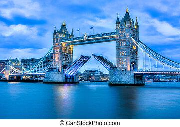 ponte, raro, pienamente, immagine, torre, aperto