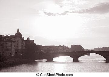 Ponte Santa Trinita Bridge and the River Arno at Dusk, Florence