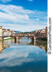 Ponte Santa Trinita bridge over the Arno River, Florence