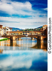 Ponte Santa Trinita bridge over the Arno River, Florence -...