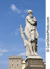 Ponte Santa Trinita Winter statue in Florence
