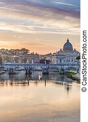 Ponte Sant'Angelo, once the Aelian Bridge or Pons Aelius (Bridge of Hadrian) in Rome, Italy,