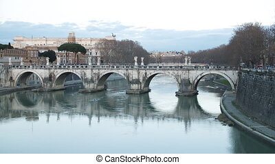 Ponte Sant'Angelo. Sunset. River Tibr. Rome, Italy. Time...