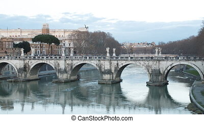 Ponte Sant'Angelo. Sunset. Zoom. Rome, Italy. Time Lapse