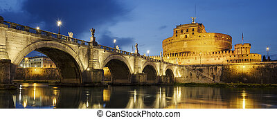 ponte, santo, angelo, tiber, sopra, roma, castello, fiume, night.