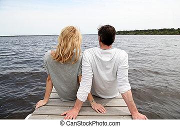 ponte, seduta, legno, coppia, lago, retro, vista