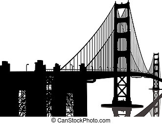 ponte, silhouette, cancello, dorato