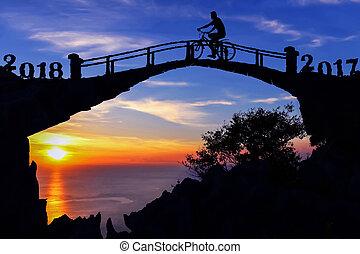 ponte, silhouette, nuovo, 2018, anno, bicicletta, uomo