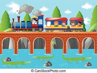 ponte, sobre, trem, crianças, montando