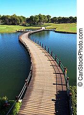 ponte, sobre, um, artificial, pond.