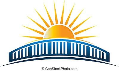 ponte, sol, sobre, ilustração, vetorial, horizonte