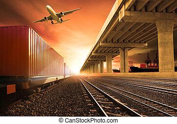 ponte, sopra, nave, porto, carico, uso, contenitore, servizio, volare, expoert, trasporto, affari, pista, ferrovie, correndo, aereo, terra, industria, spedizione marittima, logistico, treni