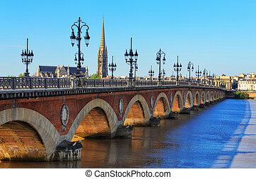ponte, st, cattedrale, bordeaux, fiume, michel