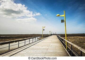 ponte, st., praia, peter-ording
