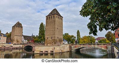 ponte,  Strasbourg,  medieval, distrito,  petite, França,  ponts, histórico,  couverts