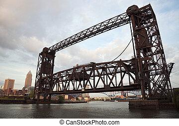 ponte, su, cuyahoga, fiume