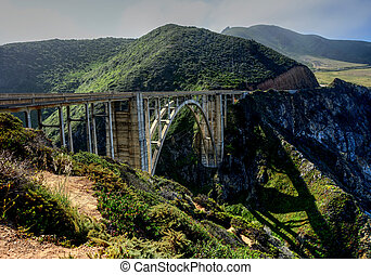 ponte, sur grande, califórnia, hwy, 1