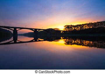 ponte, tcheco, branik, sunrise., praga, república