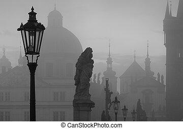 ponte, tcheco, charles, manhã, famosos, névoa, praga