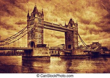 ponte torre, em, londres, a, uk., vindima, estilo