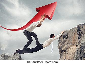 ponte, trabalhando, sucesso, junto, homens negócios, incorporado