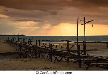 ponte, tramonto