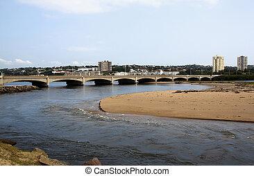 ponte, umgeni, sobre, durban, áfrica, boca, rio, sul