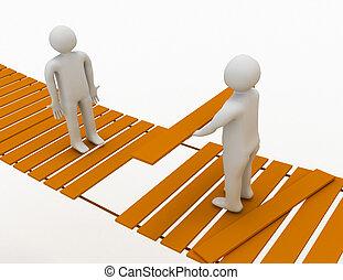 ponte, un altro, croce, porzione, persona, sospeso, 3d