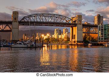 ponte, vancouver, -, burrard, pôr do sol