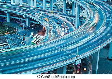 ponte, veículo, aproximação, trajetória